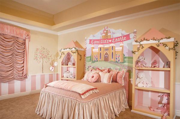 Mẫu phòng ngủ màu hồng đẹp như cổ tích cho bé gái 7