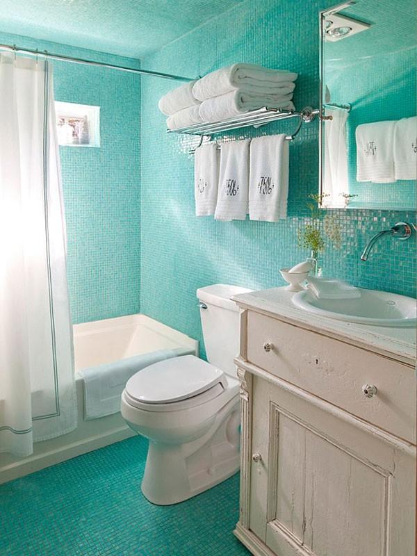 Mẹo bài trí đẹp và độc cho phòng tắm nhỏ  1
