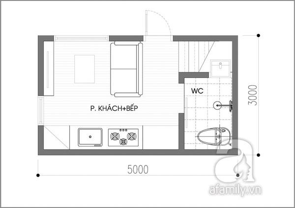 Tư vấn thiết kế căn hộ 15m² đầy đủ chức năng 2
