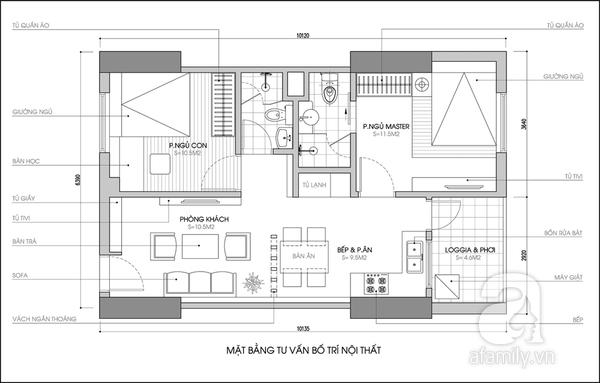 Tư vấn cải tạo căn hộ 61,5m² hiện đại và tiện dụng 2