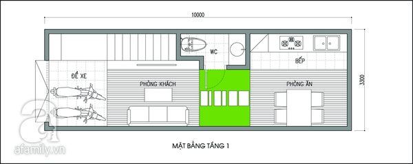 Tư vấn thiết kế để nhà 33m² có giếng trời và nhiều cây xanh 1