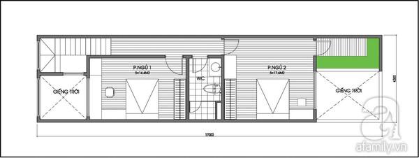 Tư vấn thiết kế nhà ống 2 tầng có 2 giếng trời 3