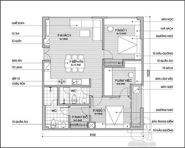 Tư vấn cải tạo và bố trí nội thất cho căn hộ 90m²  2