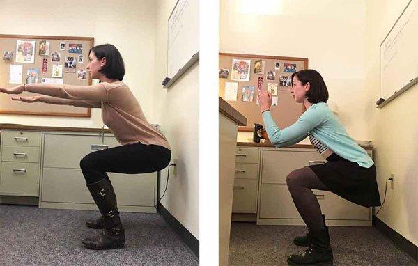 tập squat tại nơi làm việc