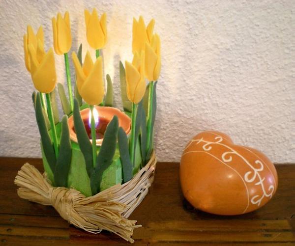 Làm hoa đất sét trang trí cốc nến lung linh đón giờ Trái đất 1