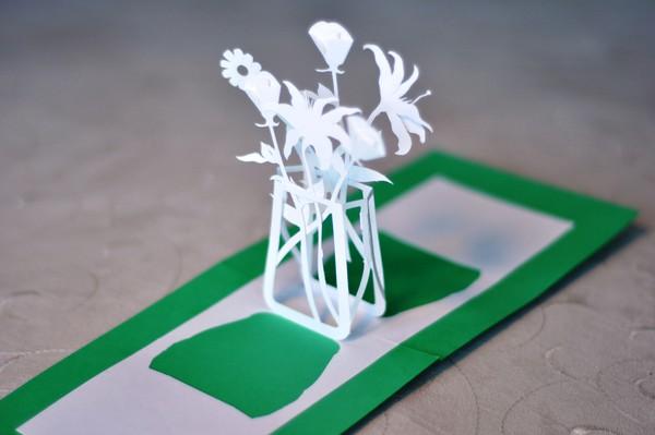 Làm thiệp 3D bình hoa tươi khoe sắc 11