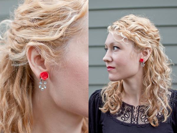 Làm hoa hồng cho khuyên tai và kẹp tóc thêm xinh 9