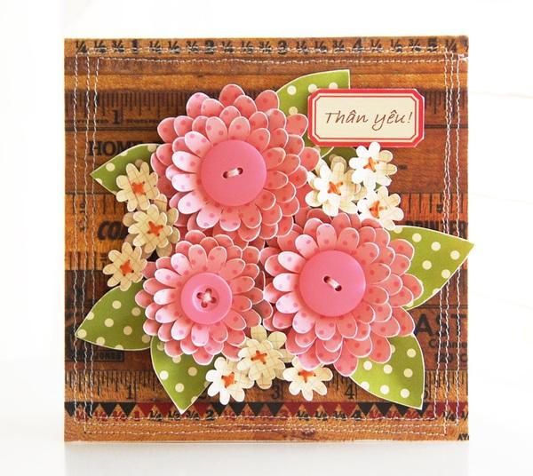 Tự làm thiệp nổi hoa giấy giản dị và xinh xắn! 7