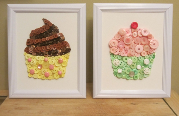 Trang trí nhà với tranh cupcake làm từ cúc áo 6