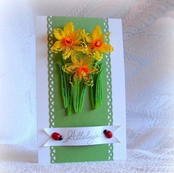 Tự làm thiệp nổi hoa thủy tiên quilling tuyệt đẹp 16