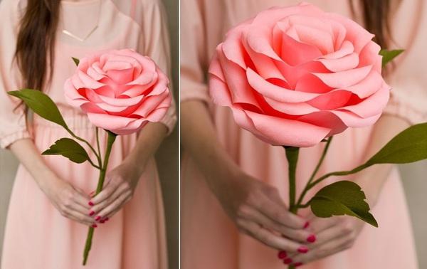 Làm hoa hồng giấy khổng lồ thật ấn tượng 1