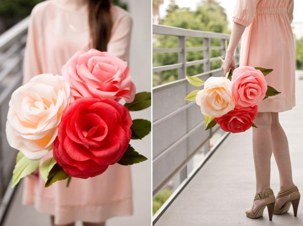 Làm hoa hồng giấy khổng lồ thật ấn tượng 11