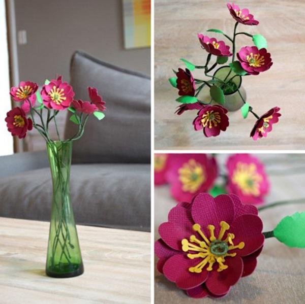 3 bước đơn giản làm hoa giấy trang trí nhà mình 11