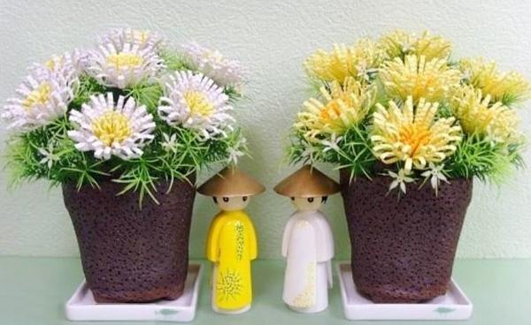 Cách làm hoa cúc giấy vàng rực đượm sắc thu 12