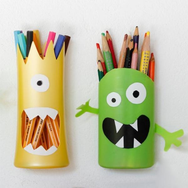 Tự chế ống đựng bút ngộ nghĩnh từ vỏ chai nhựa 13