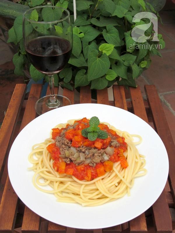 Mỳ Ý xốt cà chua bò băm làm nhanh ăn ngon 18