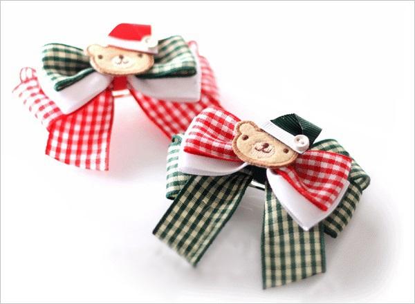 Hai kiểu nơ kẻ trang trí kẹp tóc mùa Noel 20