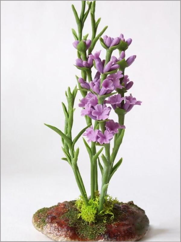 Cách làm hoa oải hương từ đất sét cực đẹp mà đơn giản 17