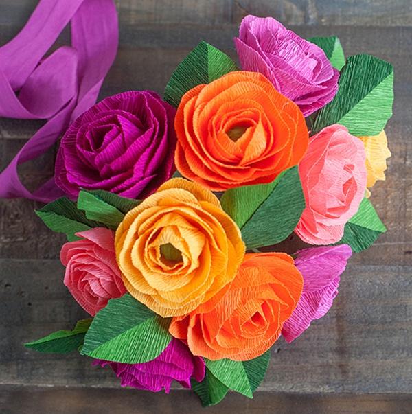 Cắt giấy nhún làm hoa mao lương đẹp như hoa thật 1
