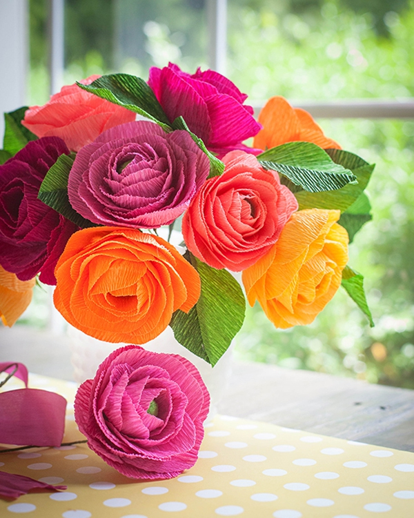 Cắt giấy nhún làm hoa mao lương đẹp như hoa thật 14