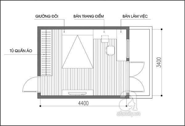 Tư vấn bố trí nội thất phòng ngủ 14m² trẻ trung 1