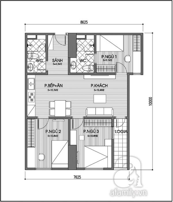 Biến hóa căn hộ nhỏ từ 2 thành 3 phòng ngủ 2