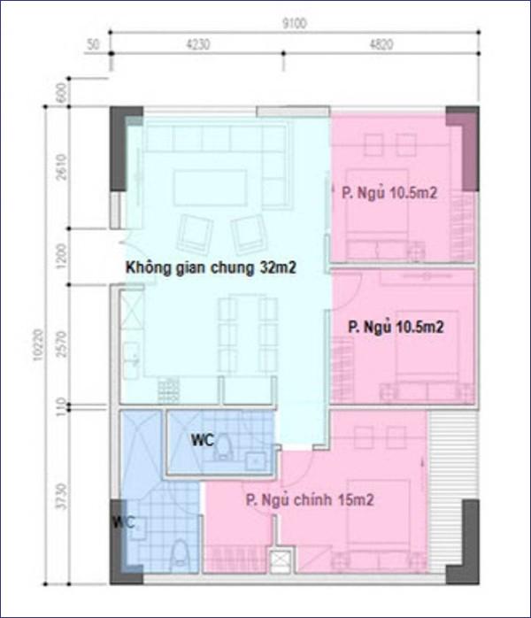 Tư vấn cải tạo và bố trí nội thất cho căn hộ 90m²  1