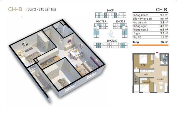 Tư vấn cải tạo căn hộ 56m² 2 phòng ngủ thoáng đãng hơn 1