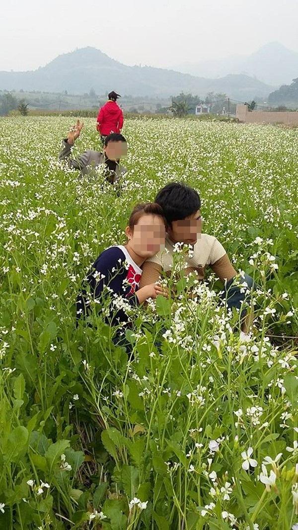 Hình ảnh dẫm đạp lên vườn cải trắng tạo dáng chụp ảnh gây bức xúc 5