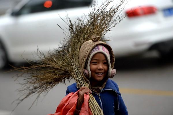 Cuộc sống của bé gái không được đến trường, phải theo ông bà đi quét rác 6
