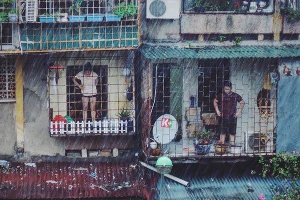 cặp đôi cùng ngắm mưa