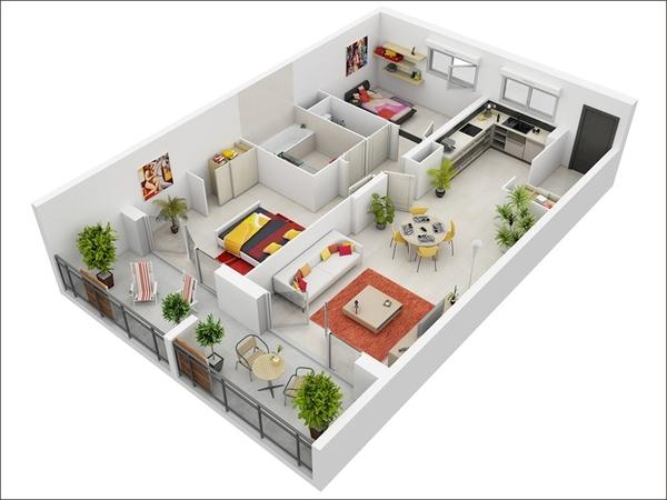 10 mẫu căn hộ hai phòng ngủ tuyệt đẹp cho gia đình trẻ 2