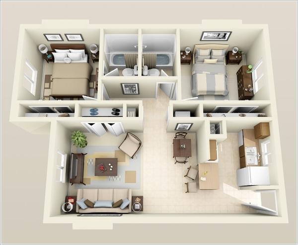 10 mẫu căn hộ hai phòng ngủ tuyệt đẹp cho gia đình trẻ 4