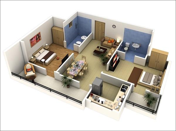 10 mẫu căn hộ hai phòng ngủ tuyệt đẹp cho gia đình trẻ 5