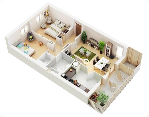 10 mẫu căn hộ hai phòng ngủ tuyệt đẹp cho gia đình trẻ 6