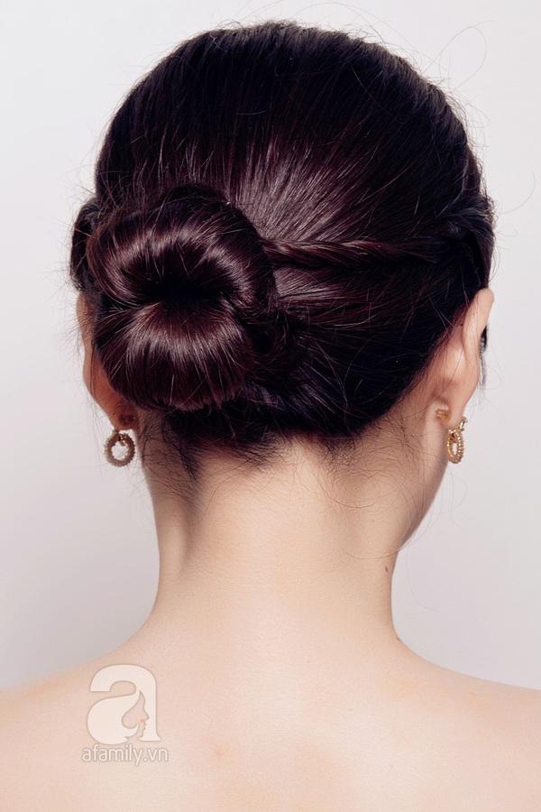 Hướng dẫn làm 3 kiểu tóc búi thanh lịch, hợp đồ len 2