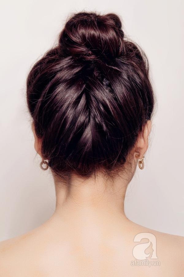 Hướng dẫn làm 3 kiểu tóc búi thanh lịch, hợp đồ len 4