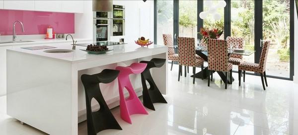 Trang trí bếp hiện đại và phong cách với màu hồng 1