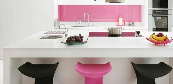 Trang trí bếp hiện đại và phong cách với màu hồng 3
