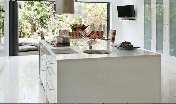Trang trí bếp hiện đại và phong cách với màu hồng 5