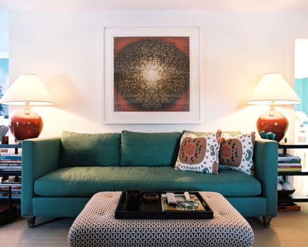 Những biến hóa nội thất phong cách với sofa màu ngọc lam 4