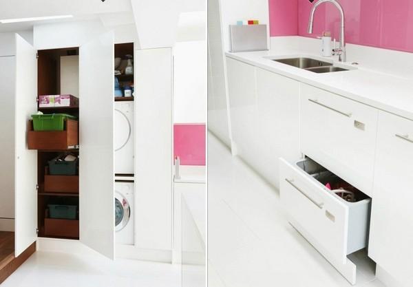 Trang trí bếp hiện đại và phong cách với màu hồng 6