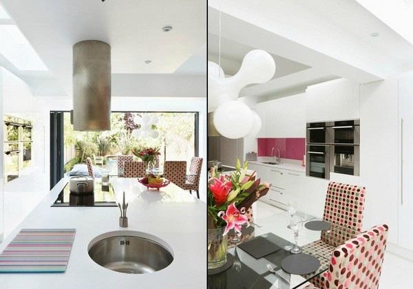 Trang trí bếp hiện đại và phong cách với màu hồng 7
