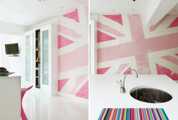 Trang trí bếp hiện đại và phong cách với màu hồng 8