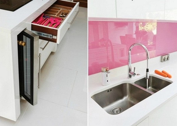 Trang trí bếp hiện đại và phong cách với màu hồng 2
