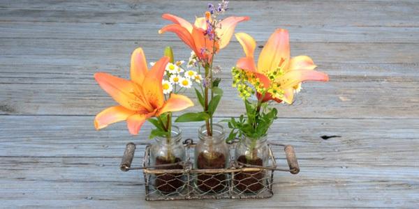 bã cà phê cắm hoa