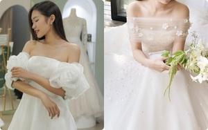 """Ngắm """"nàng thơ của Đoàn Văn Hậu"""" thử váy cưới, chị em mê ngay dáng váy cưới trễ vai khéo léo che vòng 1 khiêm tốn"""