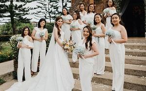 """Đám cưới cực chất khi dàn phù dâu mặc jumpsuit trắng: Giúp cô dâu tỏa sáng mà """"nhân vật phụ"""" cũng đẹp một chín một mười"""