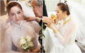Cận cảnh áo dài cưới của Bảo Thy: Đơn giản nhưng tinh tế, càng nhìn mới càng thấy rõ đẳng cấp