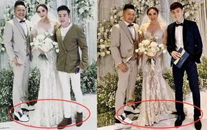 Đám cưới Bảo Thy: Cô dâu chú rể đều phải đứng lên chiếc bục nhỏ để chụp ảnh với khách mời